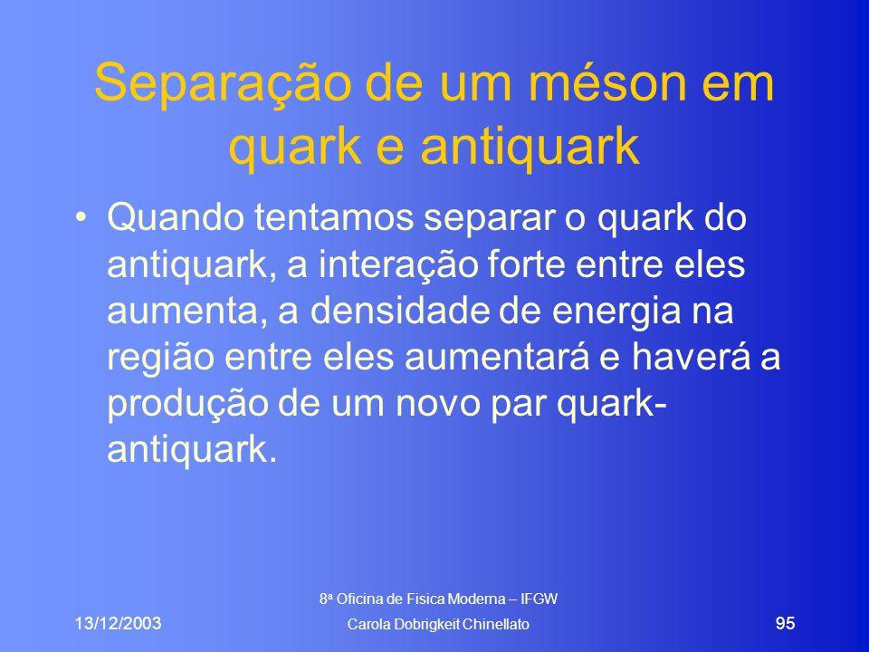 13/12/2003 8 a Oficina de Fisica Moderna – IFGW Carola Dobrigkeit Chinellato 95 Separação de um méson em quark e antiquark Quando tentamos separar o quark do antiquark, a interação forte entre eles aumenta, a densidade de energia na região entre eles aumentará e haverá a produção de um novo par quark- antiquark.