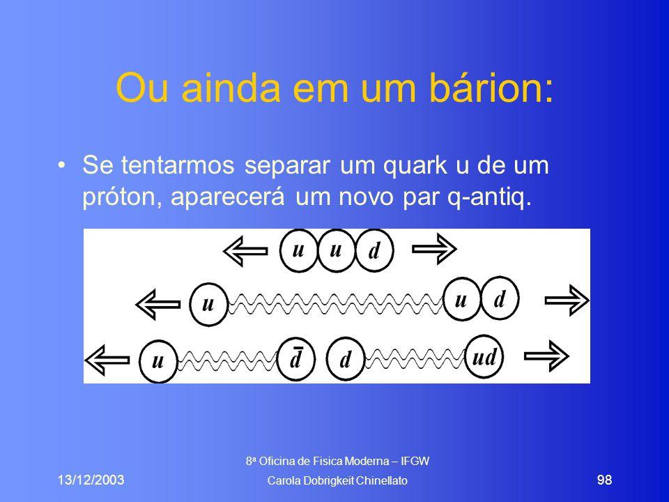 13/12/2003 8 a Oficina de Fisica Moderna – IFGW Carola Dobrigkeit Chinellato 98 Ou ainda em um bárion: Se tentarmos separar um quark u de um próton, aparecerá um novo par q-antiq.