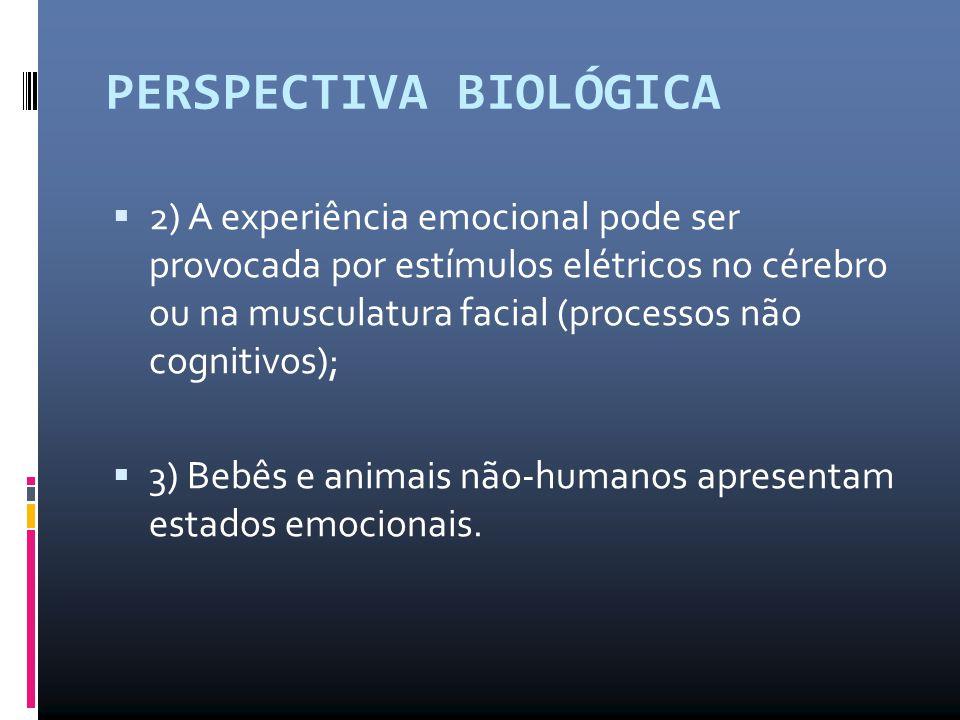 PERSPECTIVA BIOLÓGICA  2) A experiência emocional pode ser provocada por estímulos elétricos no cérebro ou na musculatura facial (processos não cogni