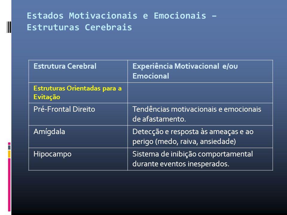 Estados Motivacionais e Emocionais – Estruturas Cerebrais Estrutura Cerebral Experiência Motivacional e/ou Emocional Estruturas Orientadas para a Evit