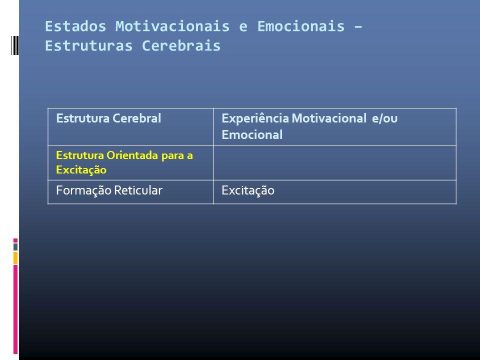 Estados Motivacionais e Emocionais – Estruturas Cerebrais Estrutura Cerebral Experiência Motivacional e/ou Emocional Estrutura Orientada para a Excita