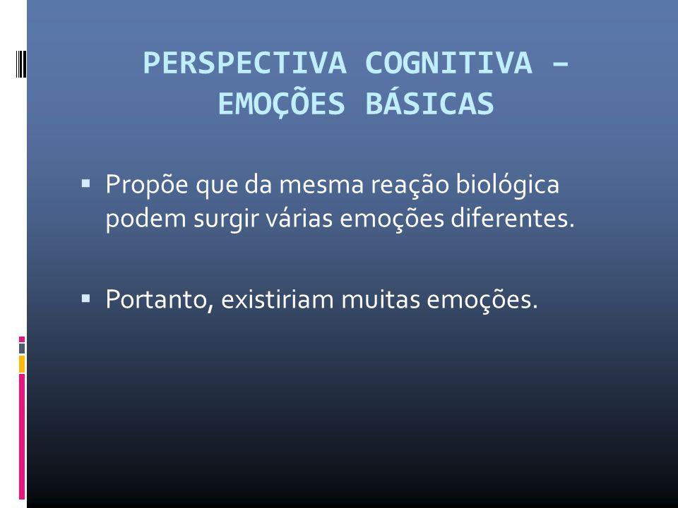 PERSPECTIVA COGNITIVA – EMOÇÕES BÁSICAS  Propõe que da mesma reação biológica podem surgir várias emoções diferentes.  Portanto, existiriam muitas e