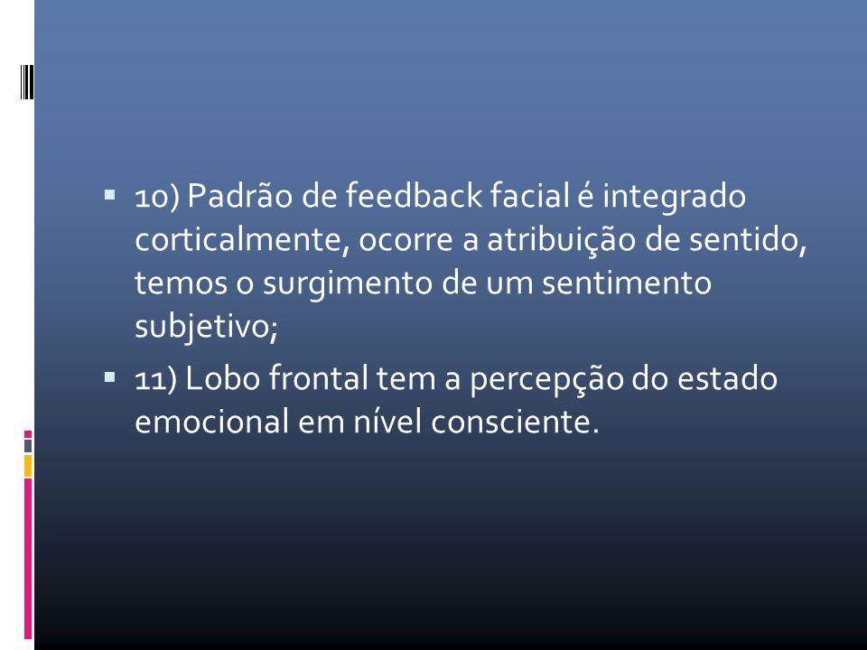  10) Padrão de feedback facial é integrado corticalmente, ocorre a atribuição de sentido, temos o surgimento de um sentimento subjetivo;  11) Lobo f