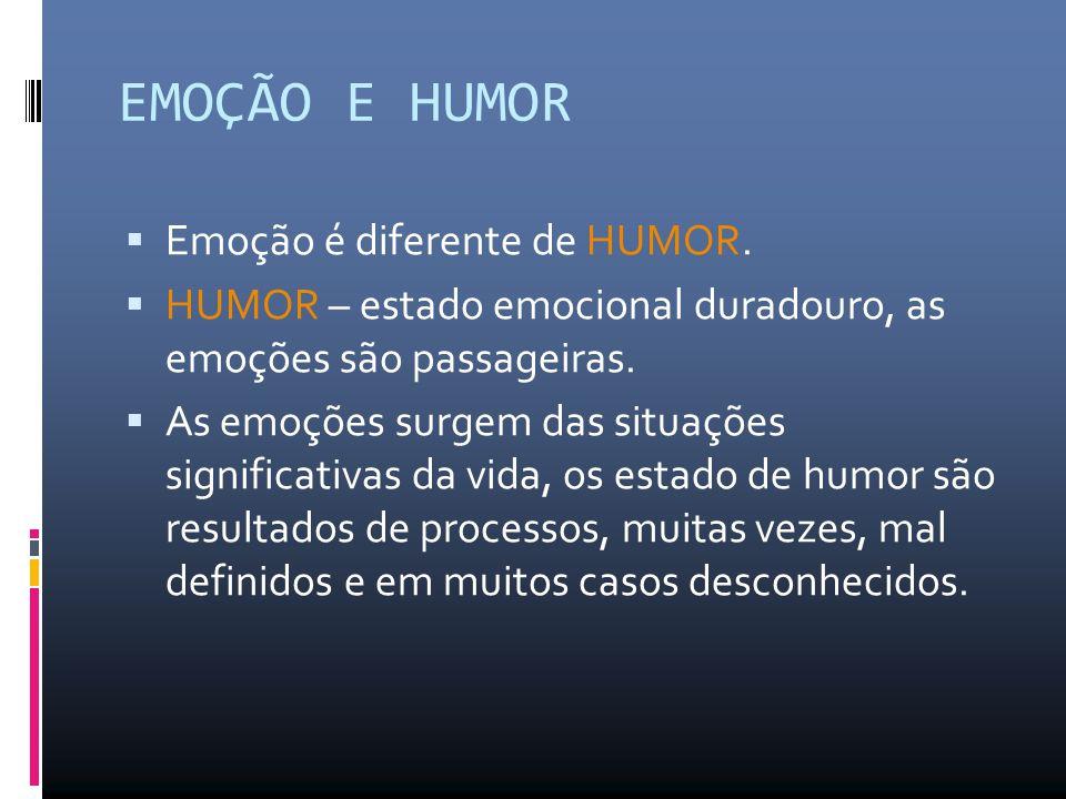 EMOÇÃO E HUMOR  Emoção é diferente de HUMOR.  HUMOR – estado emocional duradouro, as emoções são passageiras.  As emoções surgem das situações sign