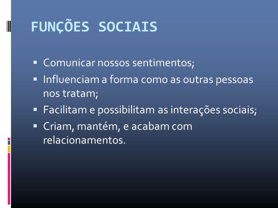 FUNÇÕES SOCIAIS  Comunicar nossos sentimentos;  Influenciam a forma como as outras pessoas nos tratam;  Facilitam e possibilitam as interações soci