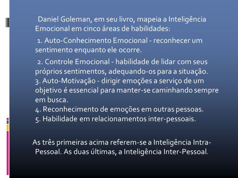 Daniel Goleman, em seu livro, mapeia a Inteligência Emocional em cinco áreas de habilidades: 1. Auto-Conhecimento Emocional - reconhecer um sentimento