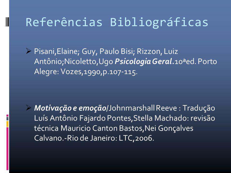 Referências Bibliográficas  Pisani,Elaine; Guy, Paulo Bisi; Rizzon, Luiz Antônio;Nicoletto,Ugo Psicologia Geral.10ªed. Porto Alegre: Vozes,1990,p.107