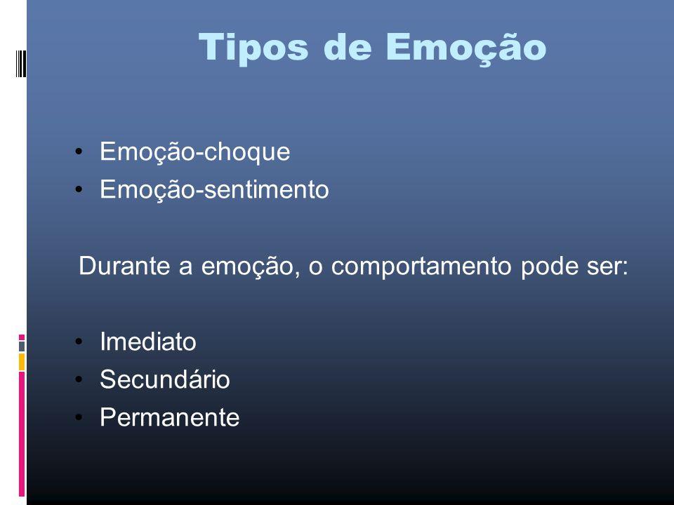 Tipos de Emoção Emoção-choque Emoção-sentimento Durante a emoção, o comportamento pode ser: Imediato Secundário Permanente