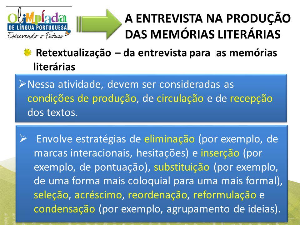 Retextualização – da entrevista para as memórias literárias A ENTREVISTA NA PRODUÇÃO DAS MEMÓRIAS LITERÁRIAS  Nessa atividade, devem ser consideradas