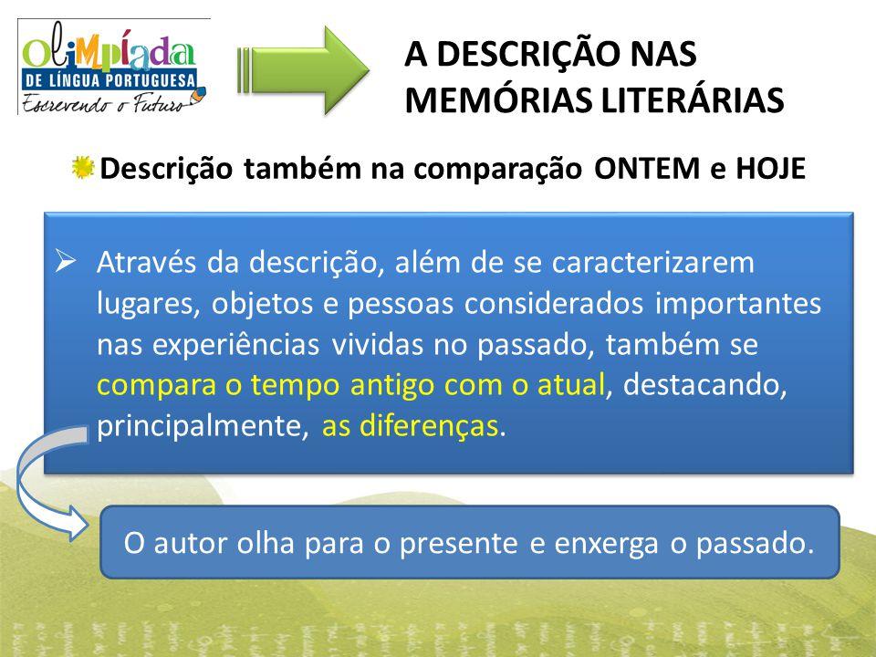 Descrição também na comparação ONTEM e HOJE A DESCRIÇÃO NAS MEMÓRIAS LITERÁRIAS  Através da descrição, além de se caracterizarem lugares, objetos e p