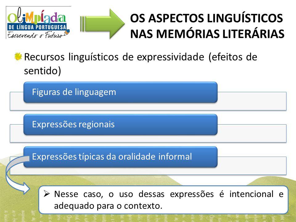 OS ASPECTOS LINGUÍSTICOS NAS MEMÓRIAS LITERÁRIAS Recursos linguísticos de expressividade (efeitos de sentido) Figuras de linguagemExpressões regionais