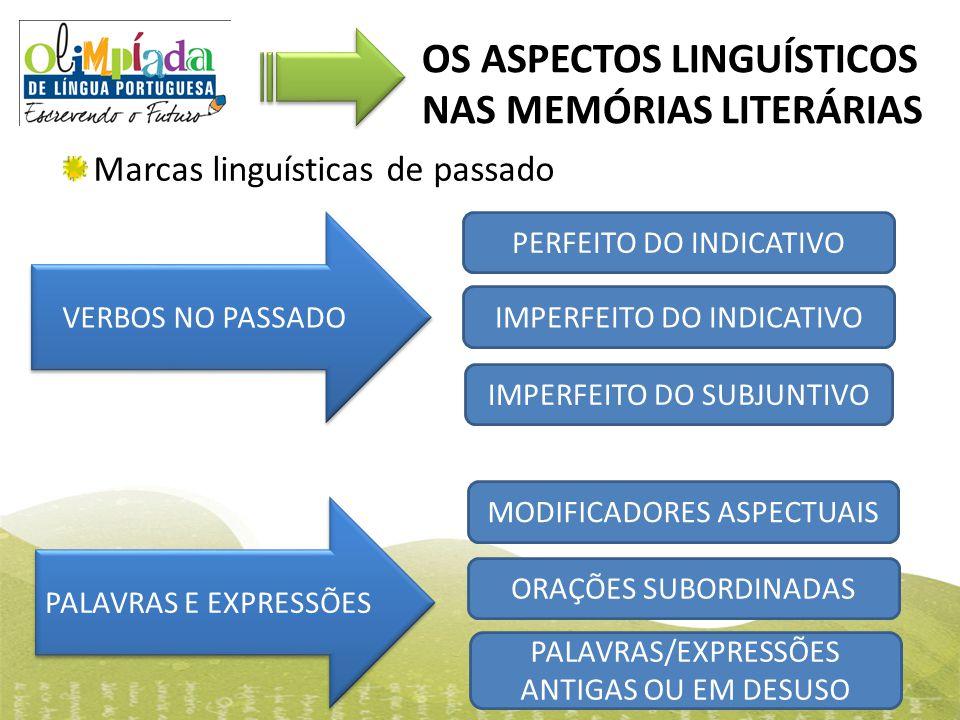 OS ASPECTOS LINGUÍSTICOS NAS MEMÓRIAS LITERÁRIAS Marcas linguísticas de passado PERFEITO DO INDICATIVO IMPERFEITO DO INDICATIVO IMPERFEITO DO SUBJUNTI