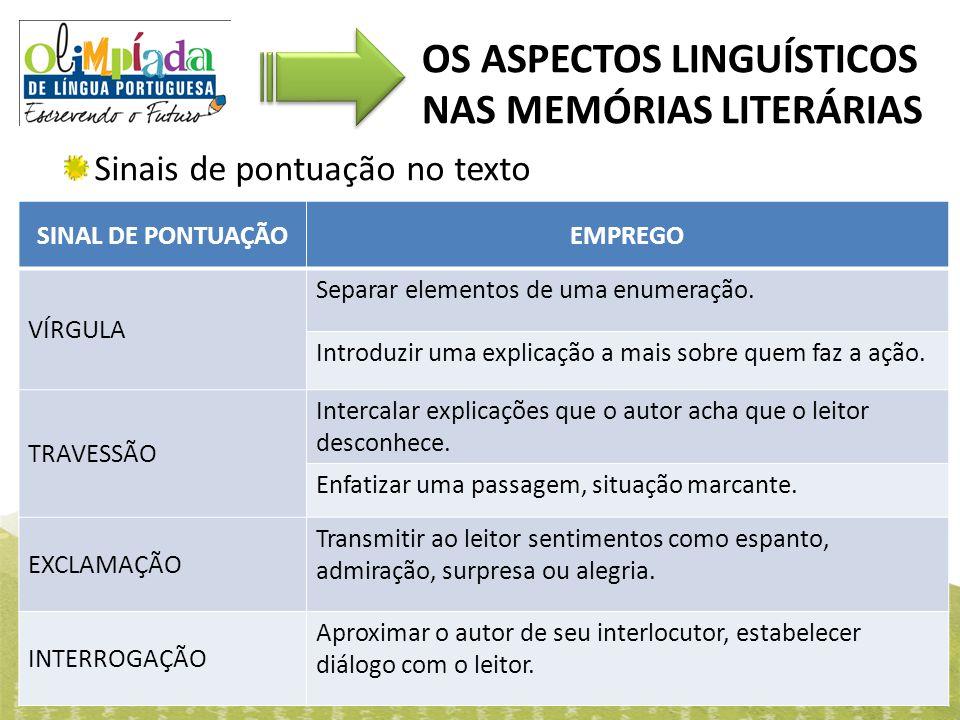 OS ASPECTOS LINGUÍSTICOS NAS MEMÓRIAS LITERÁRIAS Sinais de pontuação no texto SINAL DE PONTUAÇÃOEMPREGO VÍRGULA Separar elementos de uma enumeração. I
