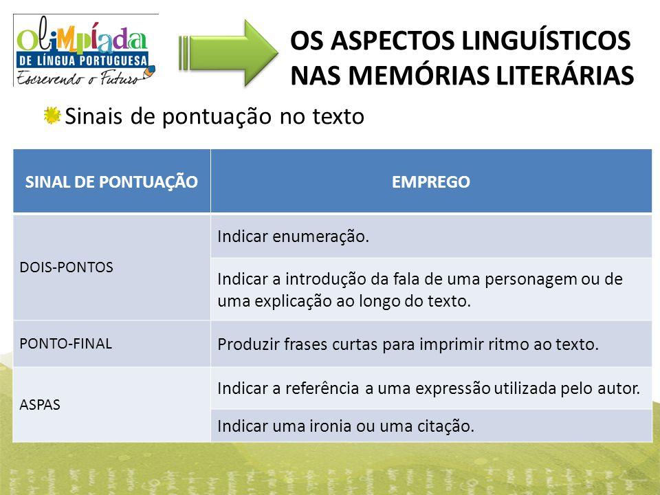OS ASPECTOS LINGUÍSTICOS NAS MEMÓRIAS LITERÁRIAS Sinais de pontuação no texto SINAL DE PONTUAÇÃOEMPREGO DOIS-PONTOS Indicar enumeração. Indicar a intr