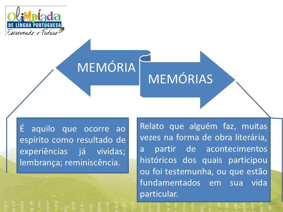MEMÓRIA MEMÓRIAS É aquilo que ocorre ao espírito como resultado de experiências já vividas; lembrança; reminiscência. Relato que alguém faz, muitas ve