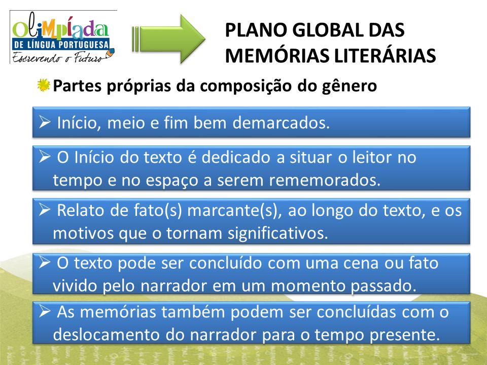Partes próprias da composição do gênero PLANO GLOBAL DAS MEMÓRIAS LITERÁRIAS  Início, meio e fim bem demarcados.  O Início do texto é dedicado a sit