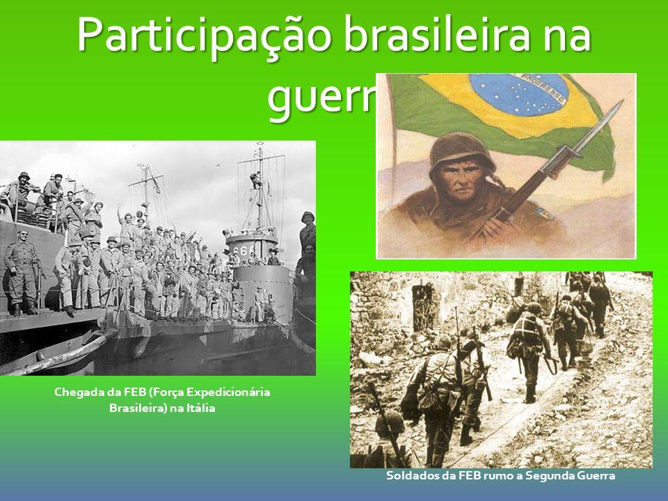 Chegada da FEB (Força Expedicionária Brasileira) na Itália Soldados da FEB rumo a Segunda Guerra