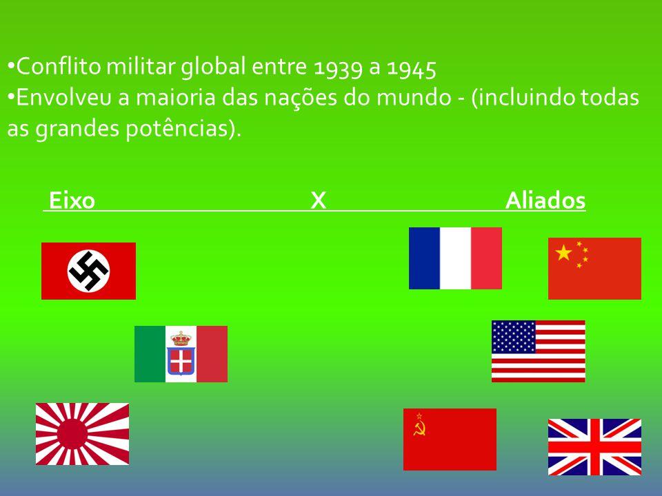 Conflito militar global entre 1939 a 1945 Envolveu a maioria das nações do mundo - (incluindo todas as grandes potências). Eixo X Aliados
