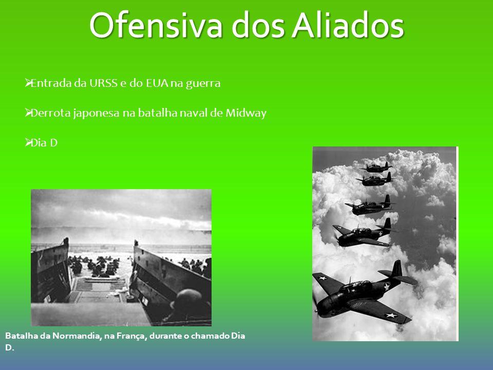  Entrada da URSS e do EUA na guerra  Derrota japonesa na batalha naval de Midway  Dia D Batalha da Normandia, na França, durante o chamado Dia D.