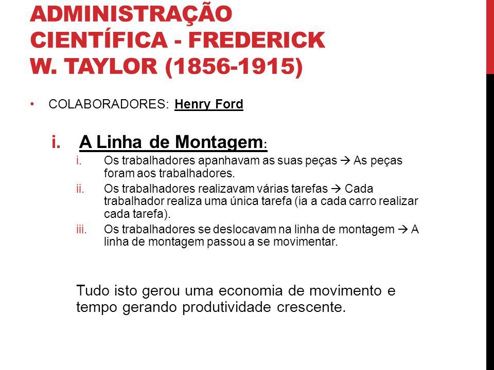 ADMINISTRAÇÃO CIENTÍFICA - FREDERICK W. TAYLOR (1856-1915) COLABORADORES: Henry Ford i.A Linha de Montagem : i.Os trabalhadores apanhavam as suas peça