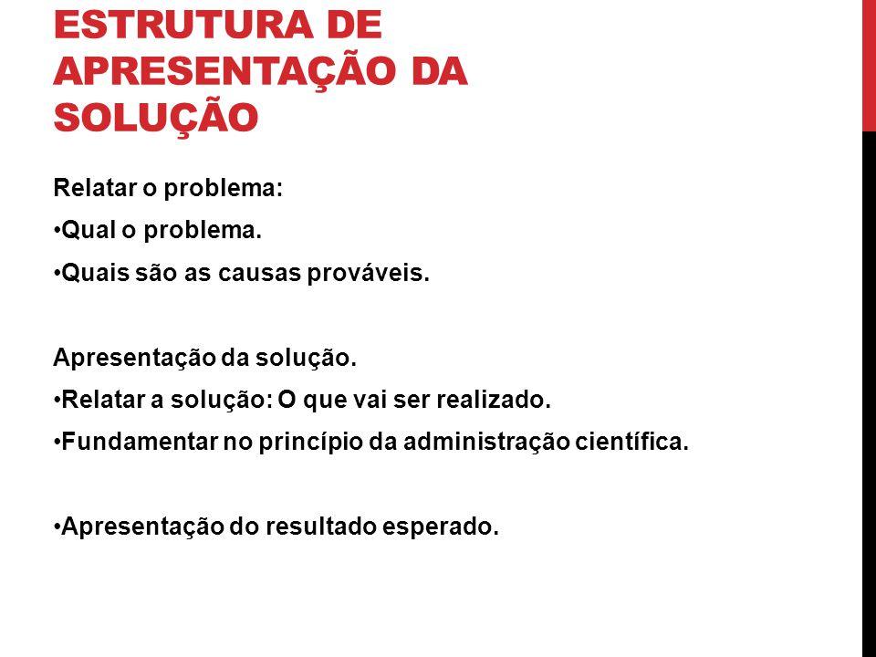 ESTRUTURA DE APRESENTAÇÃO DA SOLUÇÃO Relatar o problema: Qual o problema.