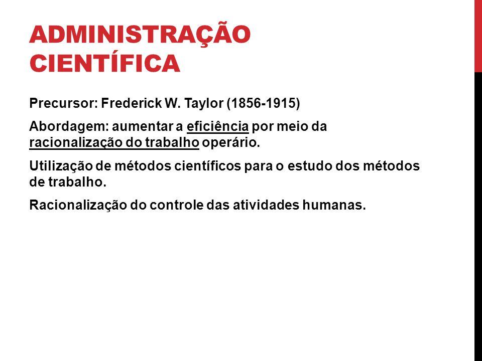 ADMINISTRAÇÃO CIENTÍFICA Precursor: Frederick W. Taylor (1856-1915) Abordagem: aumentar a eficiência por meio da racionalização do trabalho operário.