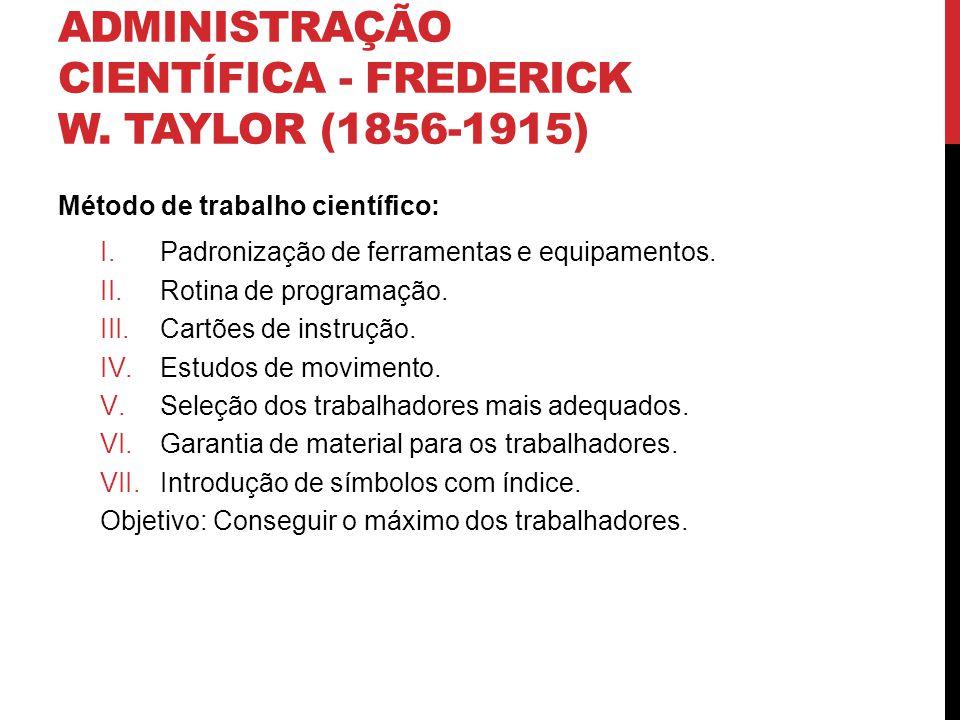 ADMINISTRAÇÃO CIENTÍFICA - FREDERICK W. TAYLOR (1856-1915) Método de trabalho científico: I.Padronização de ferramentas e equipamentos. II.Rotina de p