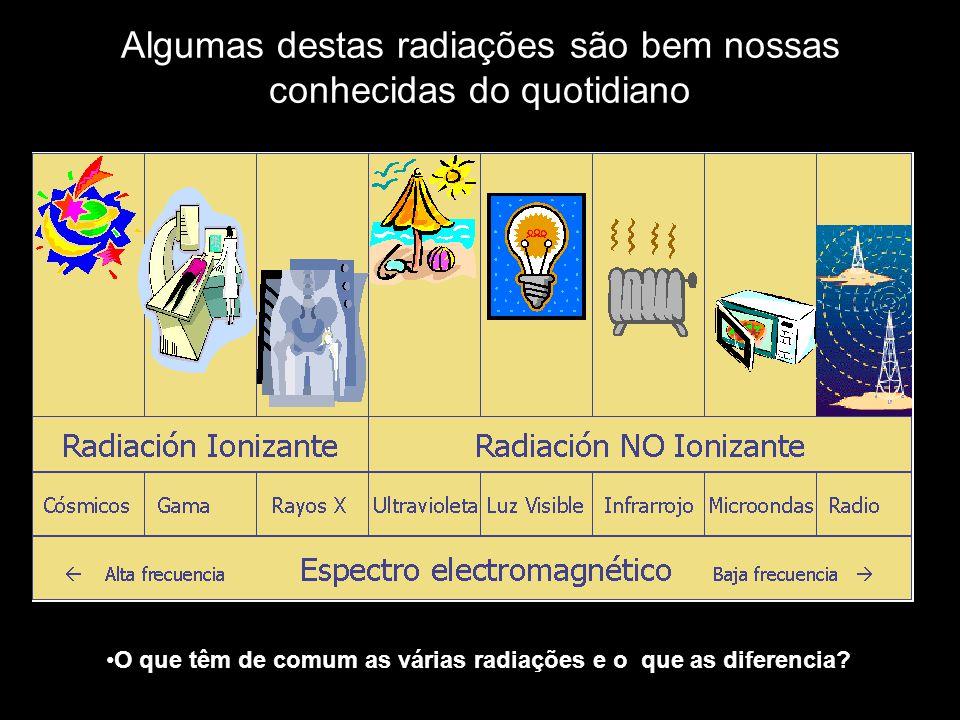 Algumas destas radiações são bem nossas conhecidas do quotidiano O que têm de comum as várias radiações e o que as diferencia?