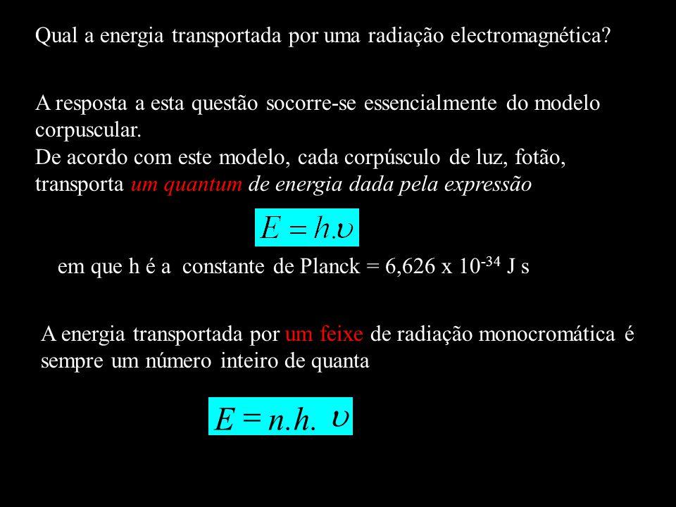 Qual a energia transportada por uma radiação electromagnética? A resposta a esta questão socorre-se essencialmente do modelo corpuscular. De acordo co