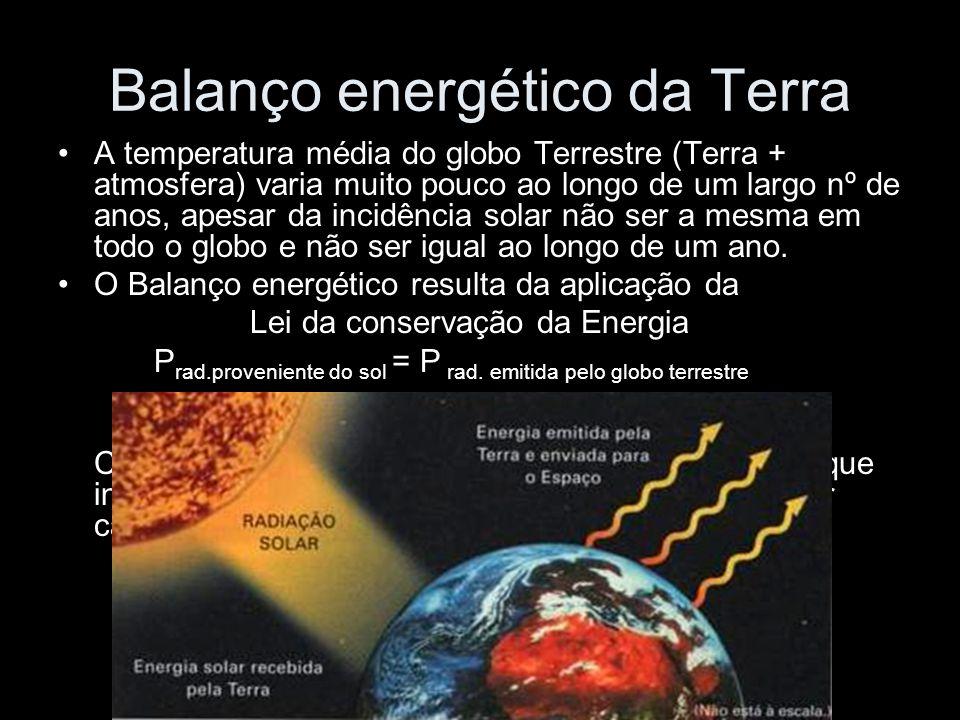 Balanço energético da Terra A temperatura média do globo Terrestre (Terra + atmosfera) varia muito pouco ao longo de um largo nº de anos, apesar da in