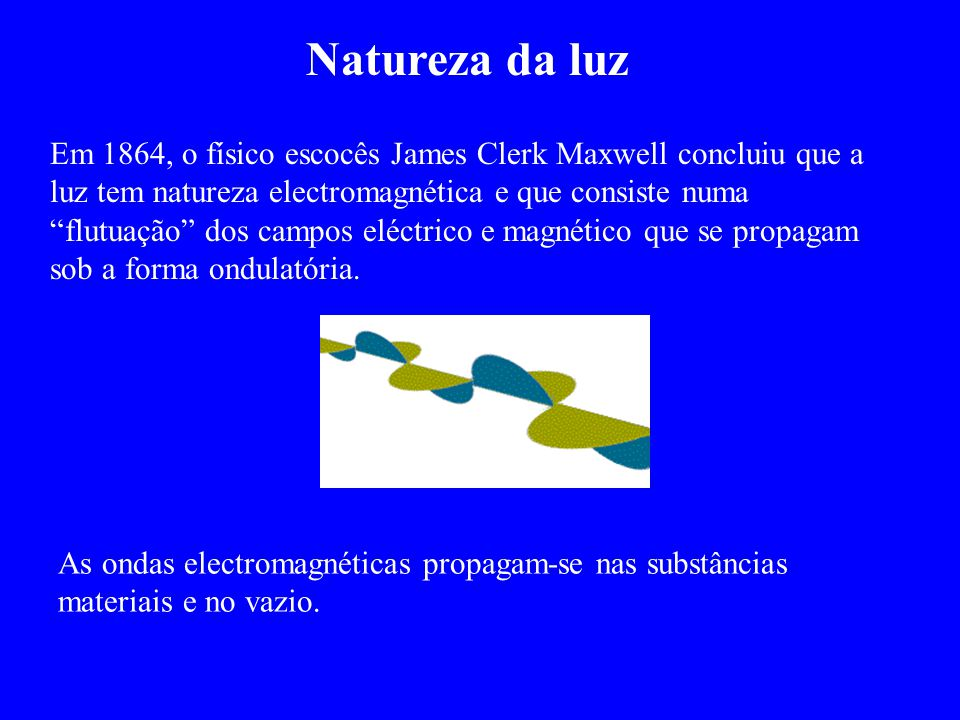 """Em 1864, o físico escocês James Clerk Maxwell concluiu que a luz tem natureza electromagnética e que consiste numa """"flutuação"""" dos campos eléctrico e"""