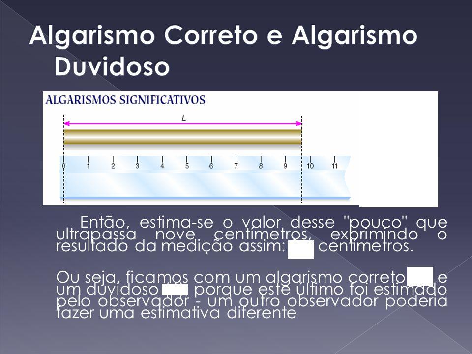Algarismos significativos, unidades, notação científica e ordem de grandeza (0,85 ± 0,02) kg(370 ± 2) kg(60,8 ± 0,1) kg 3 algarismos significativos 2 algarismos significativos 3 algarismos significativos notação científica: 8,5 x 10 -1 kg3,70 x 10 2 kg6,08 x 10 4 g 8,5 x 10 2 g3,70 x 10 5 g6,08 x 10kg 850 g0,37 Mg608 hg ordem de grandeza 10 0 kg ou 10 3 g10 2 kg ou 10 5 g