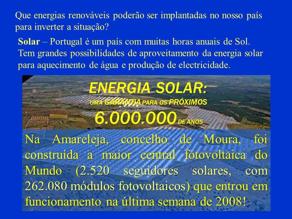 Que energias renováveis poderão ser implantadas no nosso país para inverter a situação? Solar – Portugal é um país com muitas horas anuais de Sol. Tem