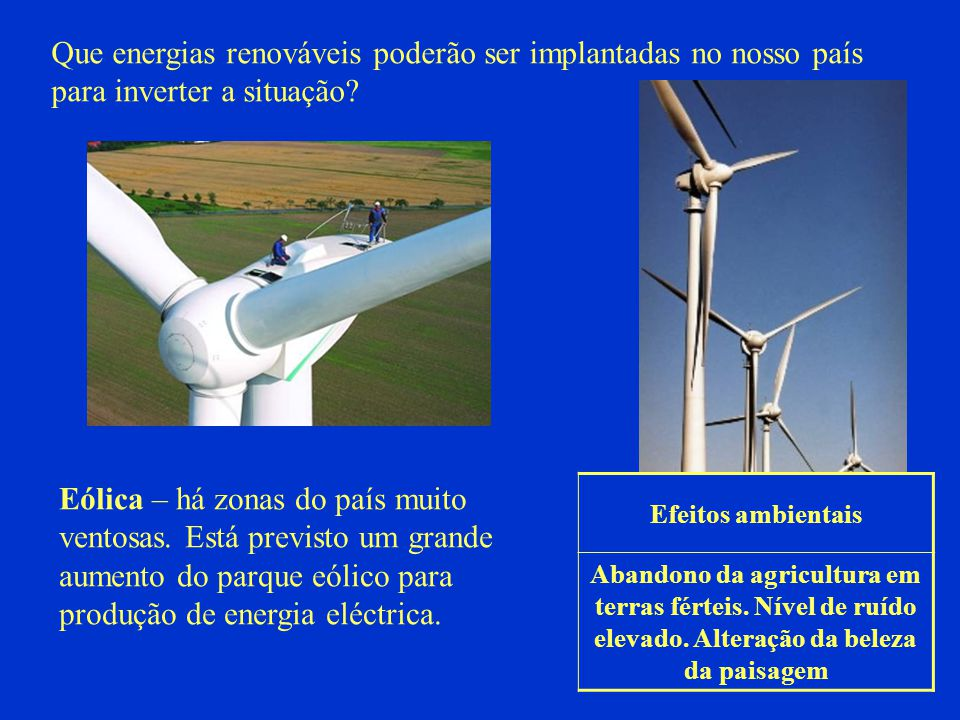 Eólica – há zonas do país muito ventosas. Está previsto um grande aumento do parque eólico para produção de energia eléctrica. Que energias renováveis
