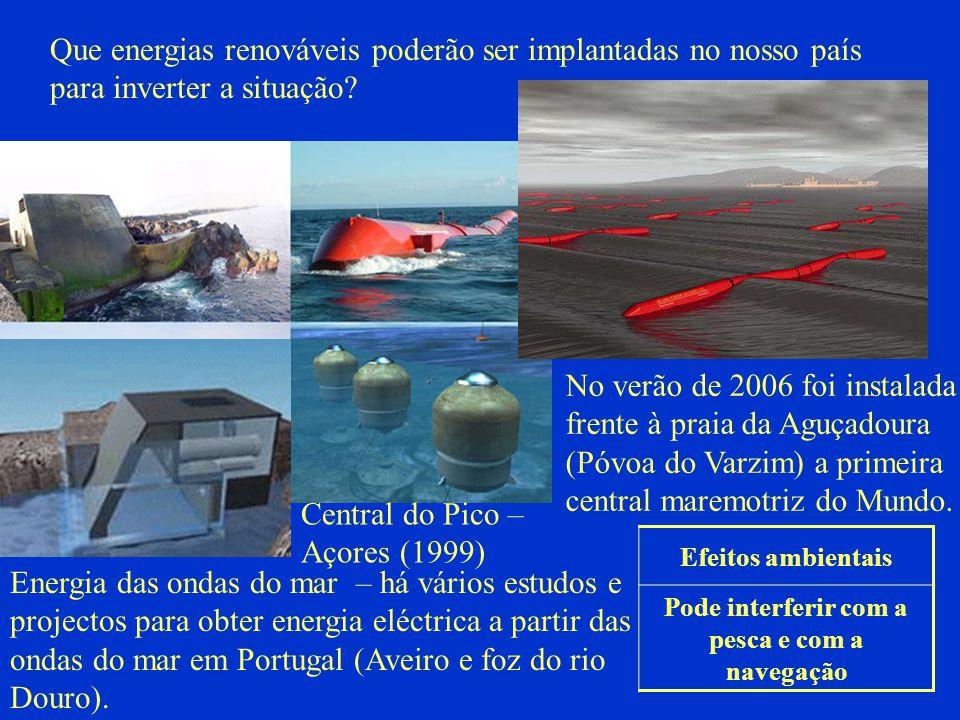 Que energias renováveis poderão ser implantadas no nosso país para inverter a situação? Energia das ondas do mar – há vários estudos e projectos para