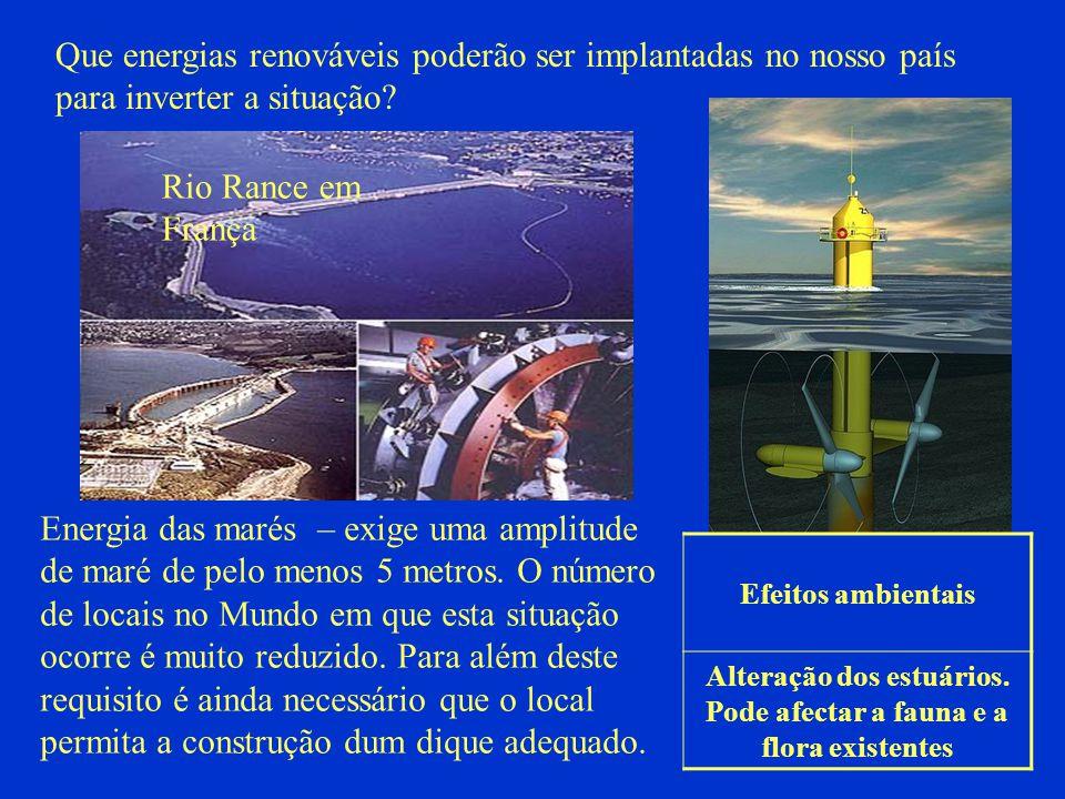 Que energias renováveis poderão ser implantadas no nosso país para inverter a situação? Energia das marés – exige uma amplitude de maré de pelo menos