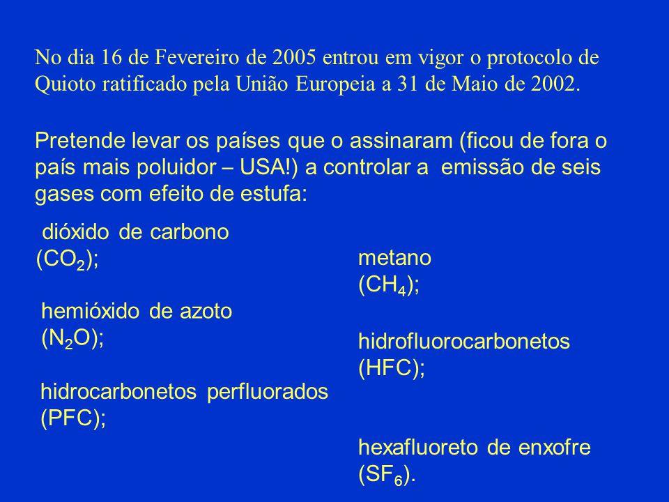 No dia 16 de Fevereiro de 2005 entrou em vigor o protocolo de Quioto ratificado pela União Europeia a 31 de Maio de 2002. Pretende levar os países que