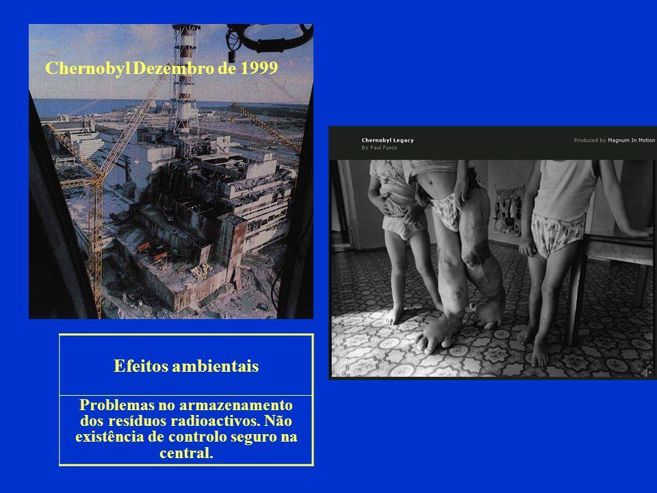 Chernobyl Dezembro de 1999 Efeitos ambientais Problemas no armazenamento dos resíduos radioactivos. Não existência de controlo seguro na central.