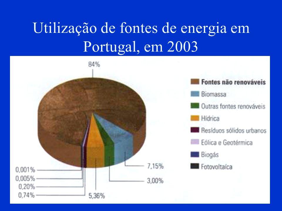 Utilização de fontes de energia em Portugal, em 2003