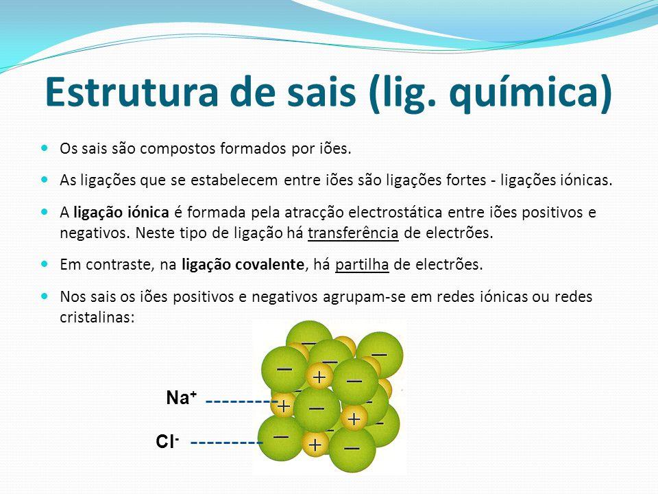 Estrutura de sais (lig.química) Os sais são compostos formados por iões.
