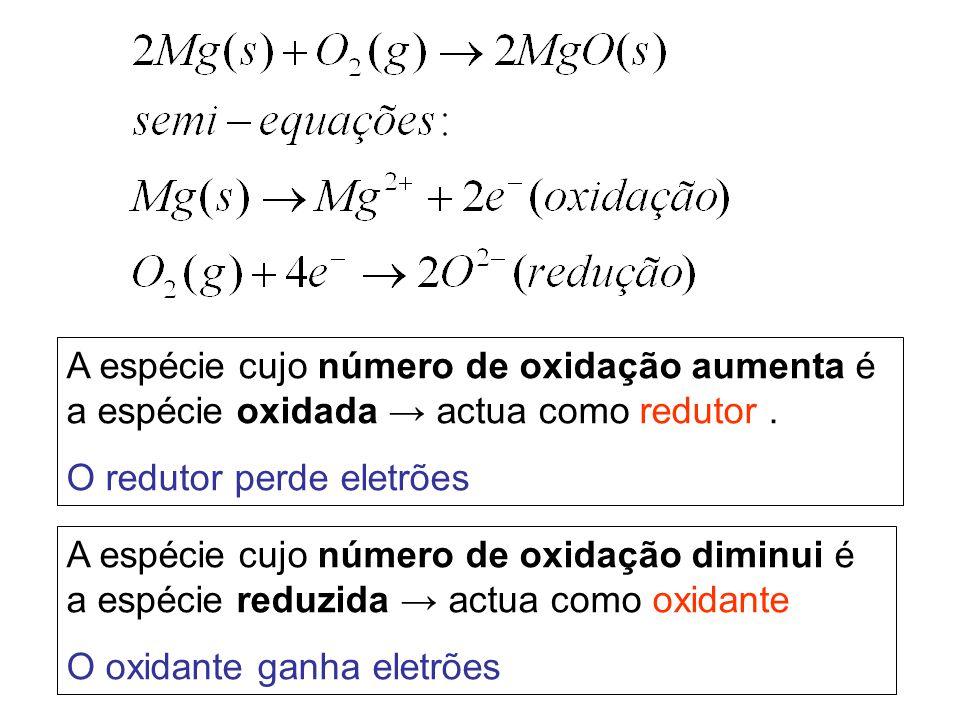 A espécie cujo número de oxidação aumenta é a espécie oxidada → actua como redutor. O redutor perde eletrões A espécie cujo número de oxidação diminui