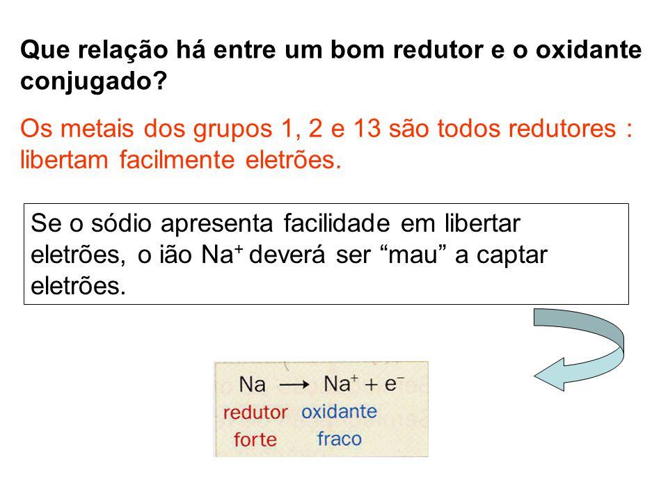 Que relação há entre um bom redutor e o oxidante conjugado? Os metais dos grupos 1, 2 e 13 são todos redutores : libertam facilmente eletrões. Se o só