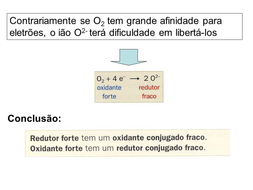 Contrariamente se O 2 tem grande afinidade para eletrões, o ião O 2- terá dificuldade em libertá-los Conclusão: