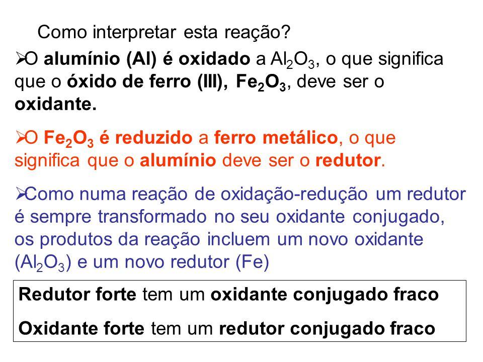 Como interpretar esta reação?  O alumínio (Al) é oxidado a Al 2 O 3, o que significa que o óxido de ferro (III), Fe 2 O 3, deve ser o oxidante.  O F