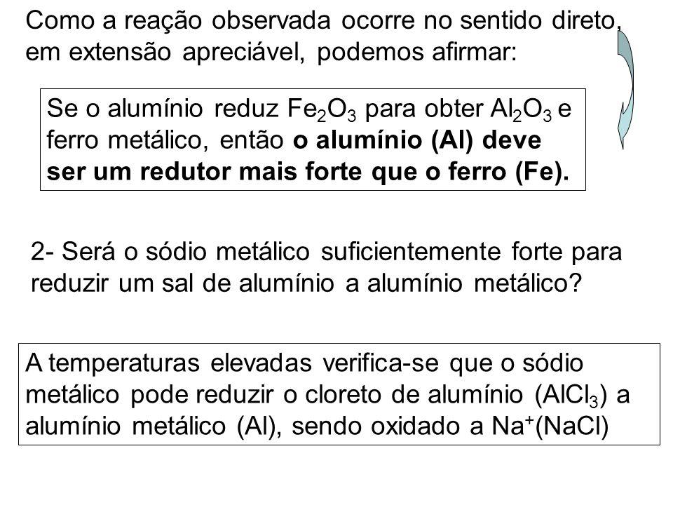 Como a reação observada ocorre no sentido direto, em extensão apreciável, podemos afirmar: Se o alumínio reduz Fe 2 O 3 para obter Al 2 O 3 e ferro metálico, então o alumínio (Al) deve ser um redutor mais forte que o ferro (Fe).