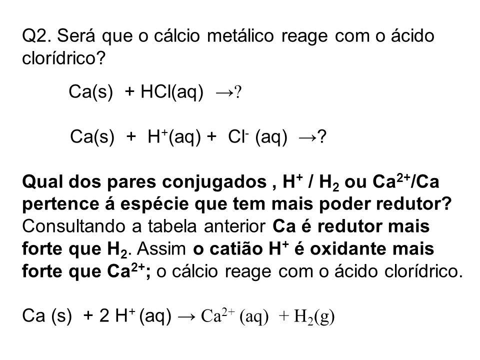 Q2. Será que o cálcio metálico reage com o ácido clorídrico? Ca(s) + HCl(aq) →? Ca(s) + H + (aq) + Cl - (aq) →? Qual dos pares conjugados, H + / H 2 o