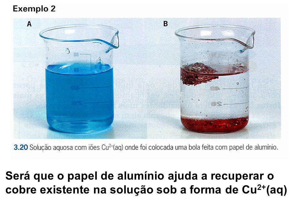 Será que o papel de alumínio ajuda a recuperar o cobre existente na solução sob a forma de Cu 2+ (aq)