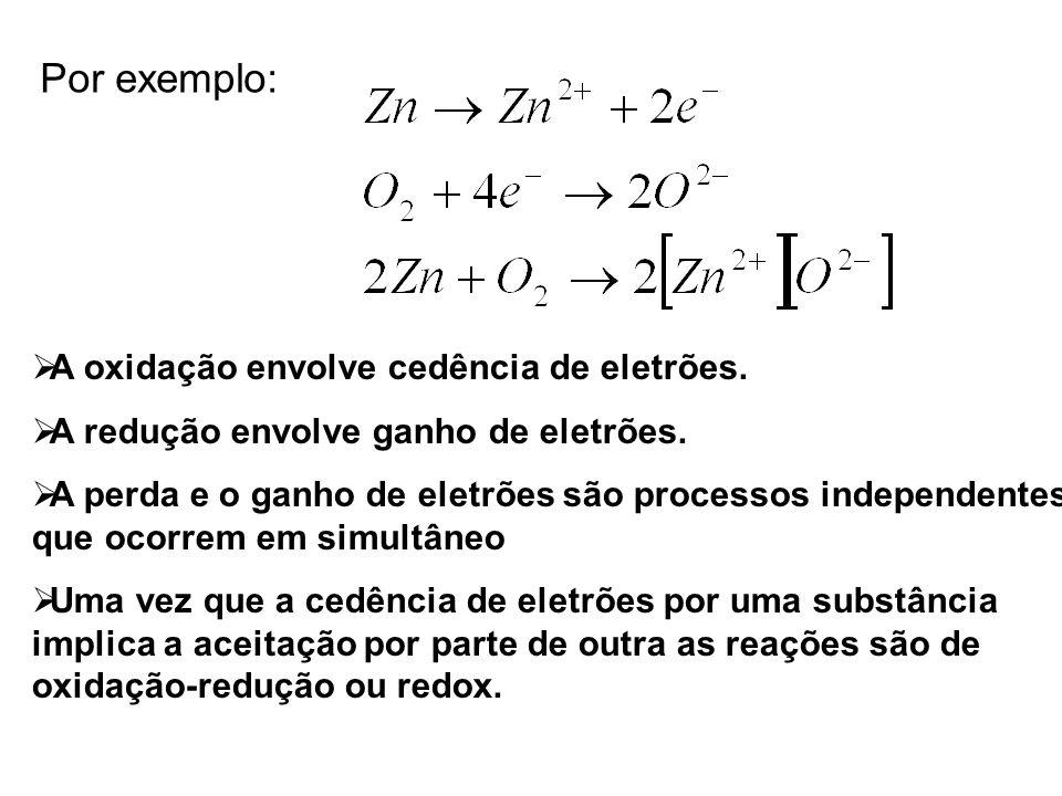 Por exemplo:  A oxidação envolve cedência de eletrões.  A redução envolve ganho de eletrões.  A perda e o ganho de eletrões são processos independe