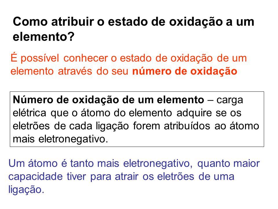 Como atribuir o estado de oxidação a um elemento? É possível conhecer o estado de oxidação de um elemento através do seu número de oxidação Número de