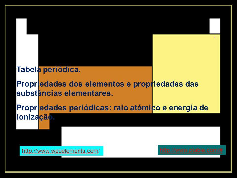 Tabela periódica. Propriedades dos elementos e propriedades das substâncias elementares. Propriedades periódicas: raio atómico e energia de ionização.